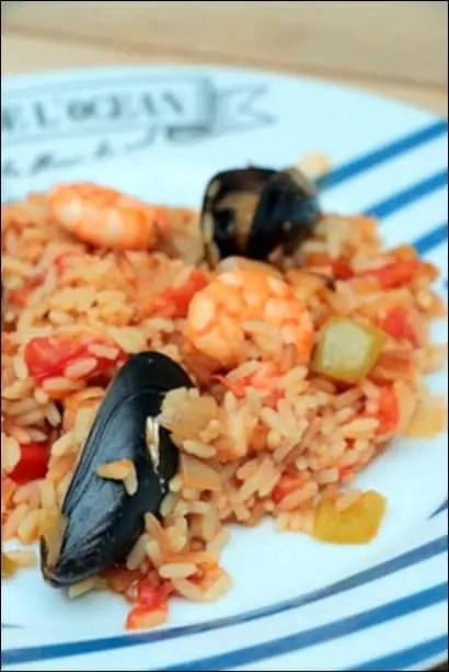 riz crevettes fruits de mer