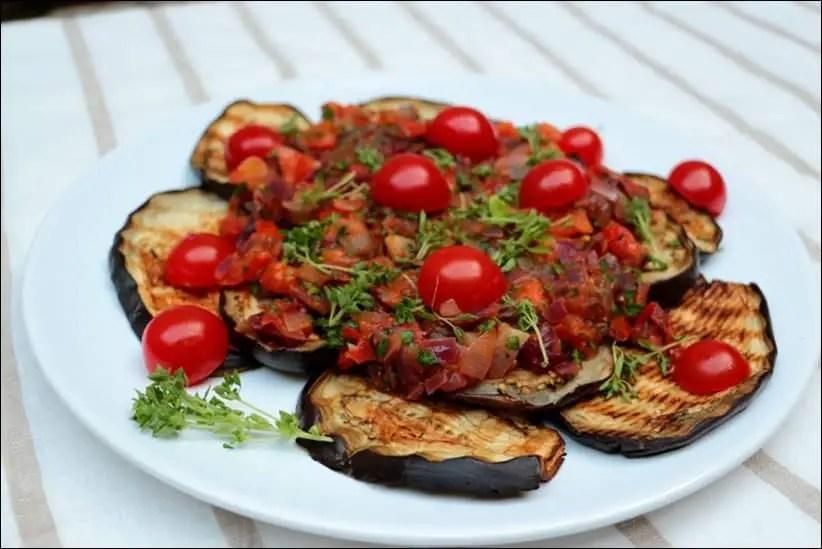 salade aubergine oignon tomate