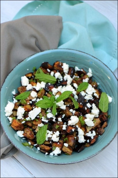 salade aubergine feta menthe