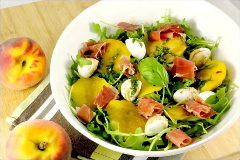 salade peche jambon cru