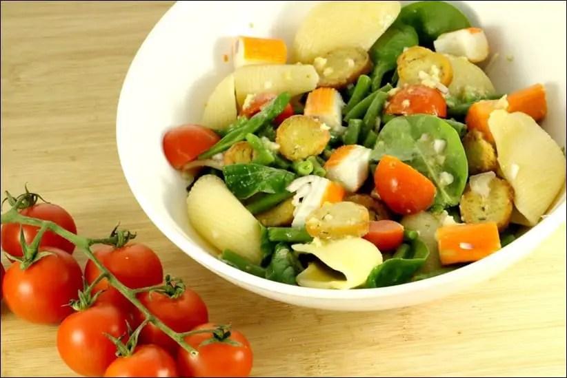 salade pates jeunes pousses epinard