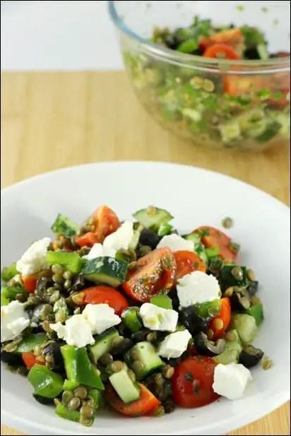 salade lentilles feta oignons