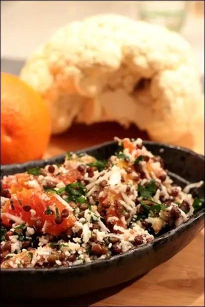 salade lentilles chou fleur orange