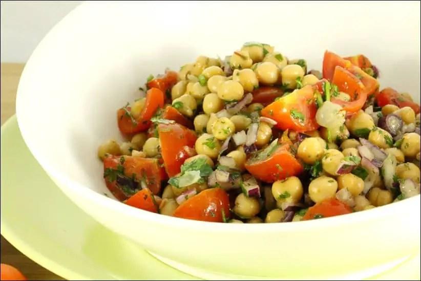 salade de pois chiches tomates coriandre