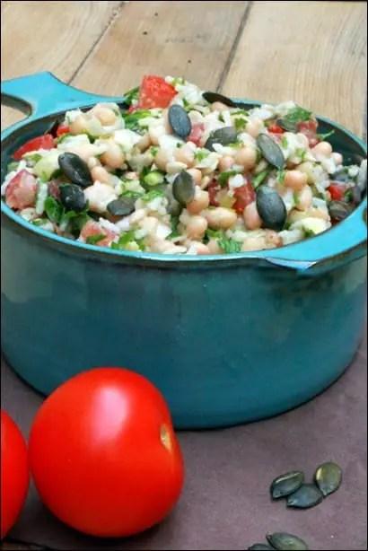 salade riz haricots blancs