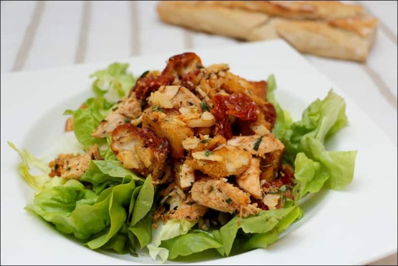 recette salade poulet croutons