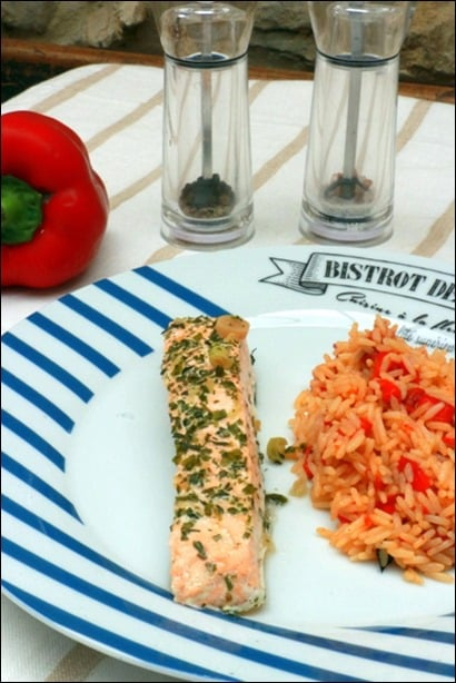 saumon vapeur et riz
