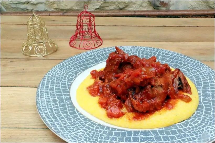 souris d'agneau sauce tomate polenta