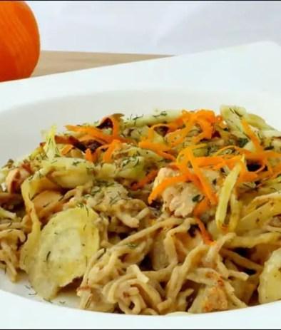 tagliatelles au saumon et fenouil rôti à l'orange