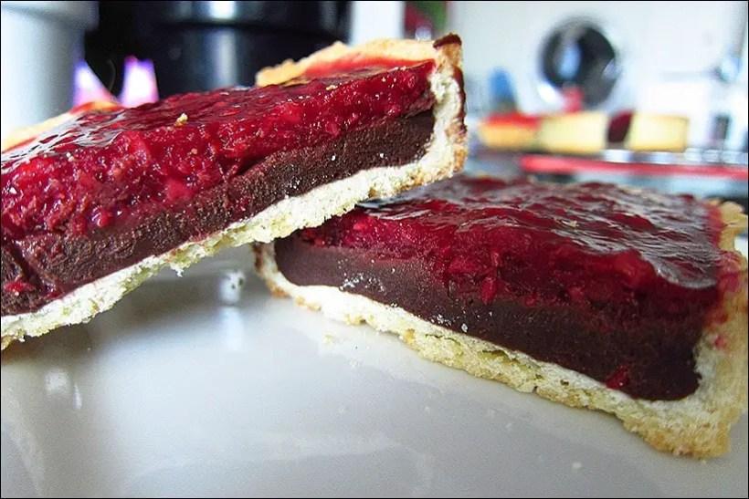 tarte framboise chocolat noir