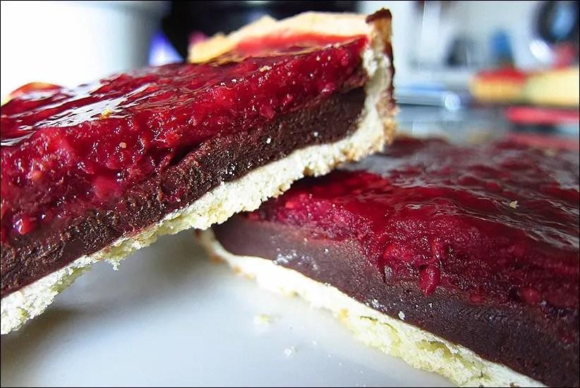 tarte aux framboises au chocolat