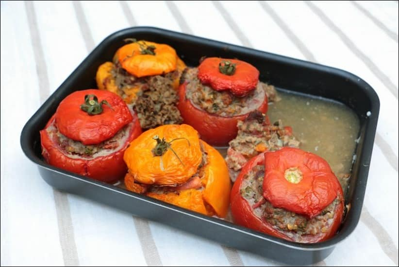 tomates farcies à l'gneau et aubergine