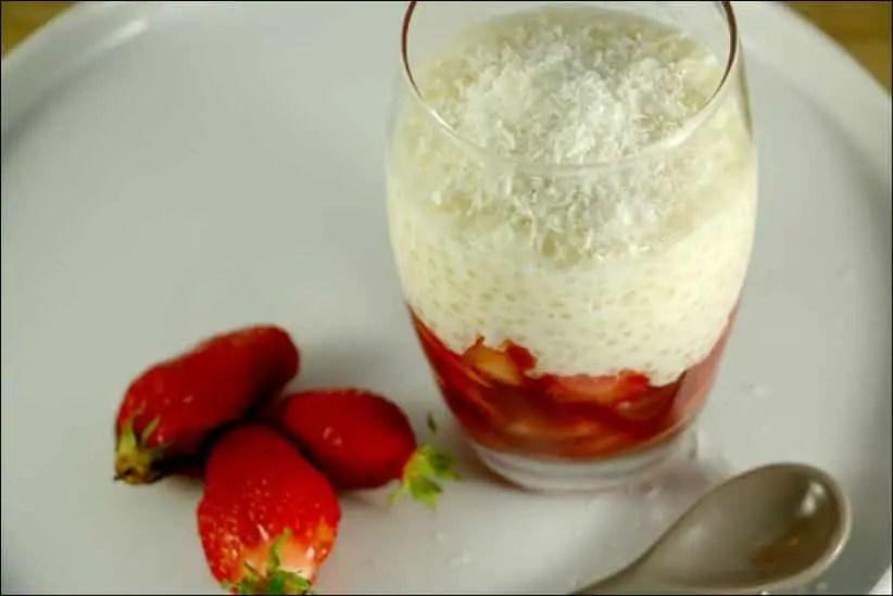 verrine de tapioca coco fraises