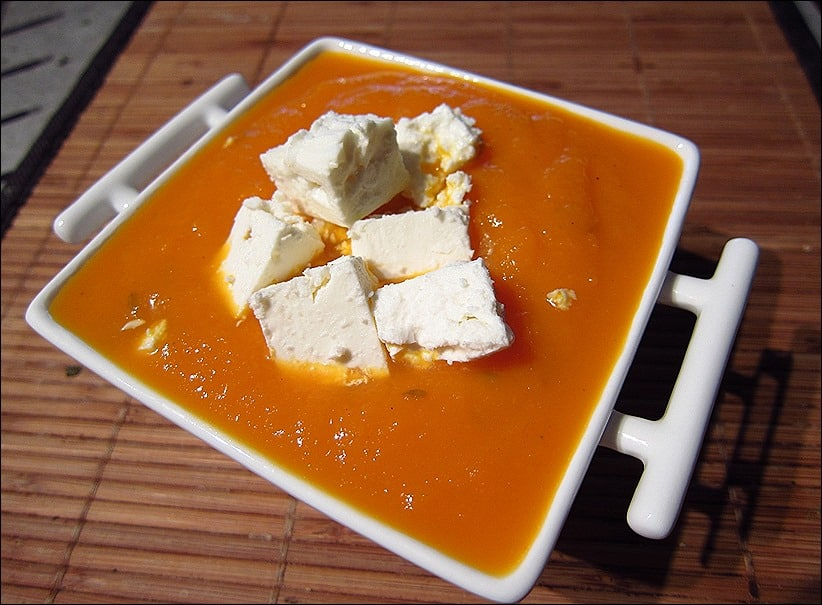 velouté glacé carottes et orange aux dès de feta