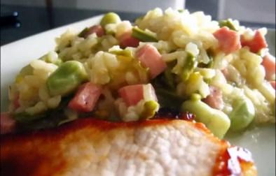 risotto printanier aux fèves asperges et jambon