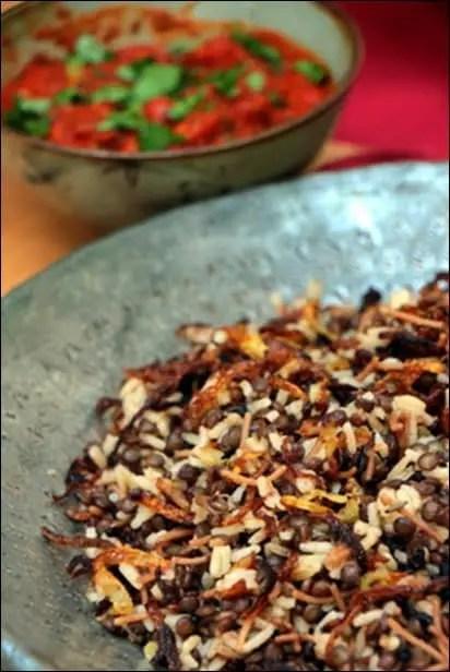 riz et lentilles à la tomate et coriandre