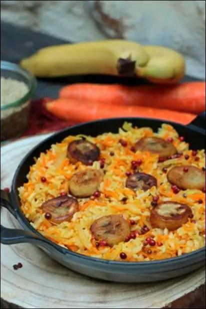 poêlée sucrée-salée de riz et de légumes