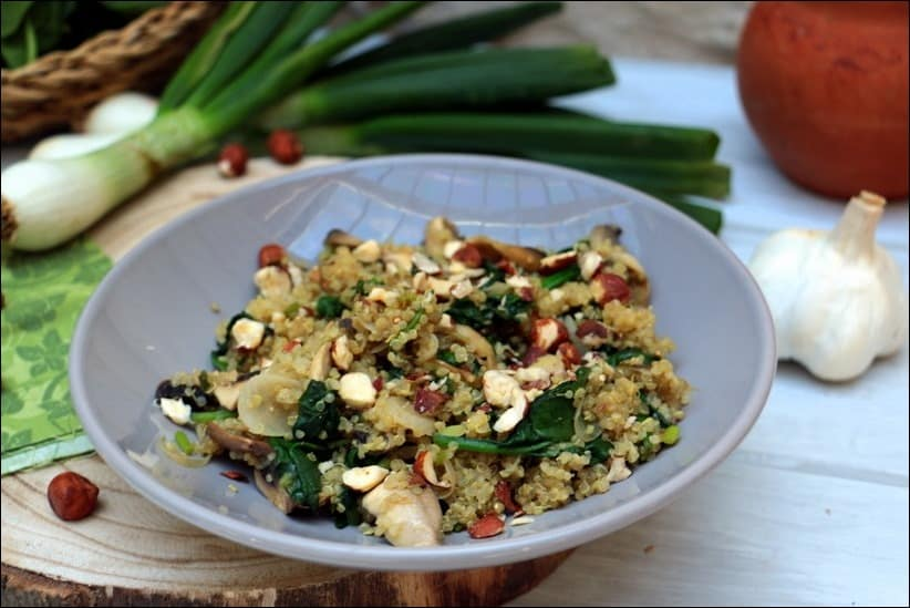 poelee quinoa epinards champignons