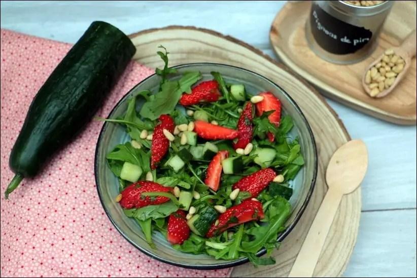 salade fraises roquette concombre