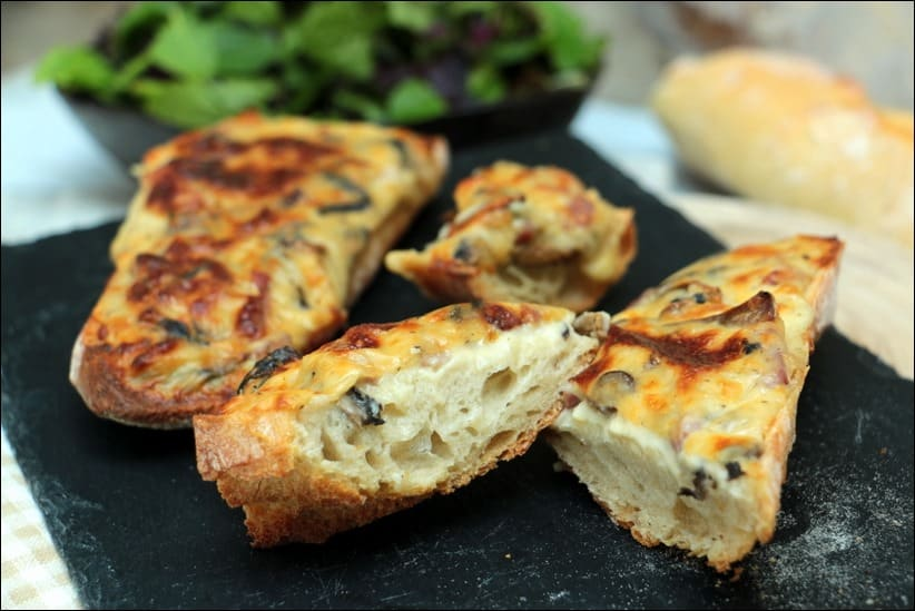 tartine lardons champignons fromage