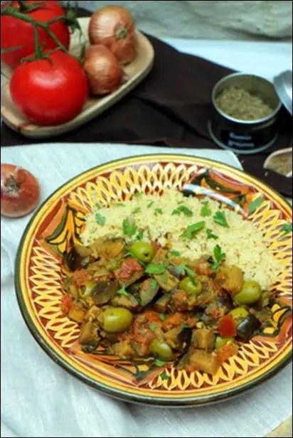 aubergine olive tomate