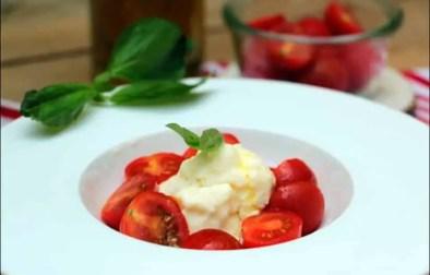 salade caprese à la mozzarella glacée