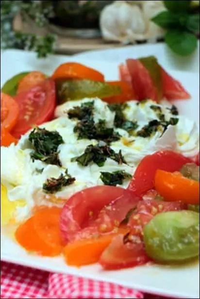 tomate mozzarella marinée