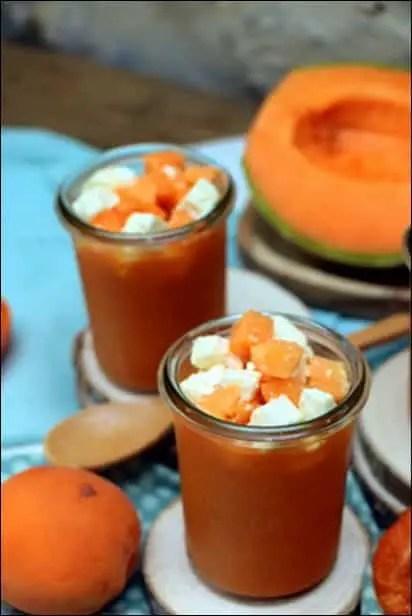 recette soupe froide melon abricot feta