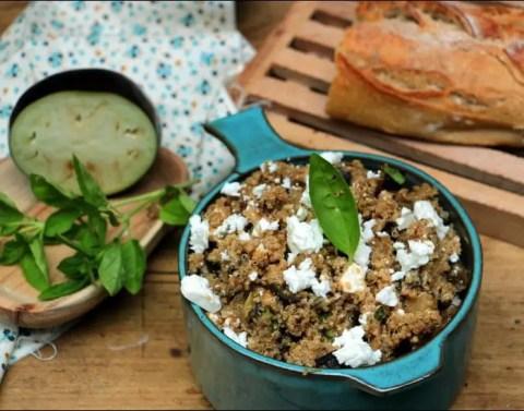 salade de quinoa aux aubergines et à la feta