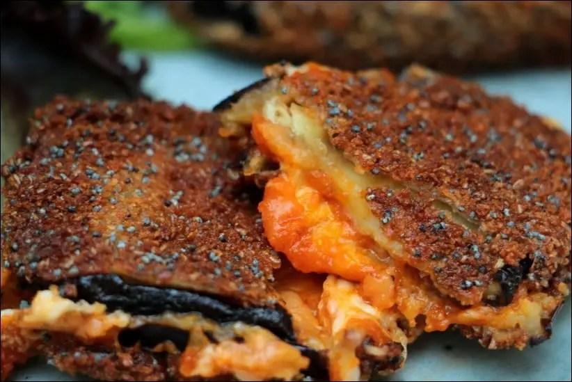 aubergine mozzarella panée