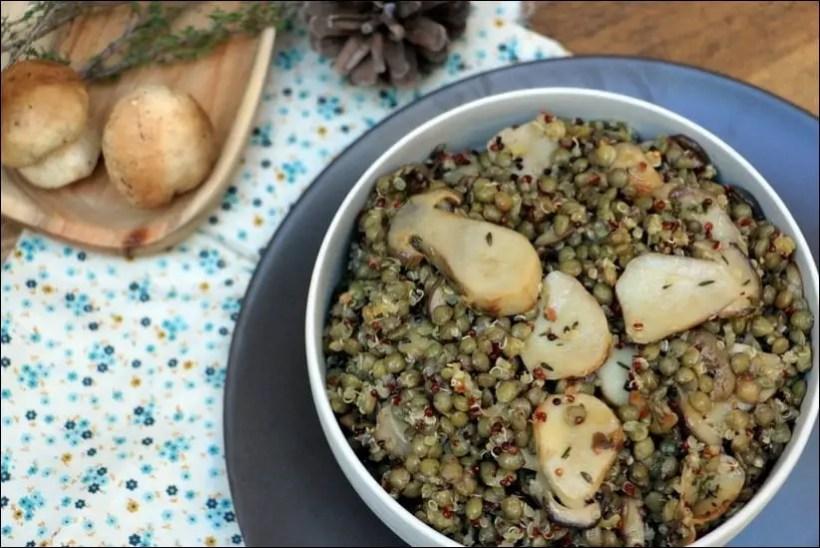 salade lentilles vertes champignons