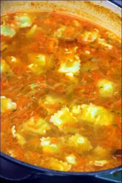 soupe de ravioles au comté