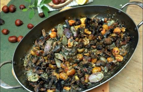champignons et châtaignes au zaatar de Yotam Ottolenghi