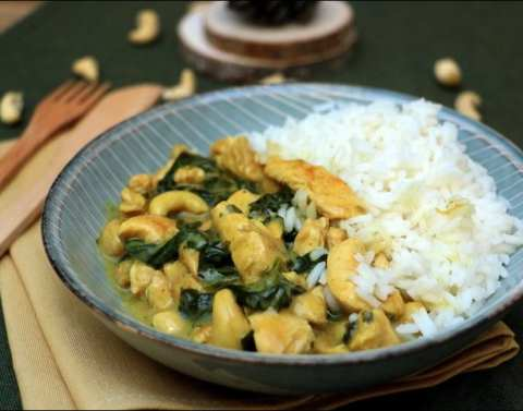 curry de poulet aux épinards