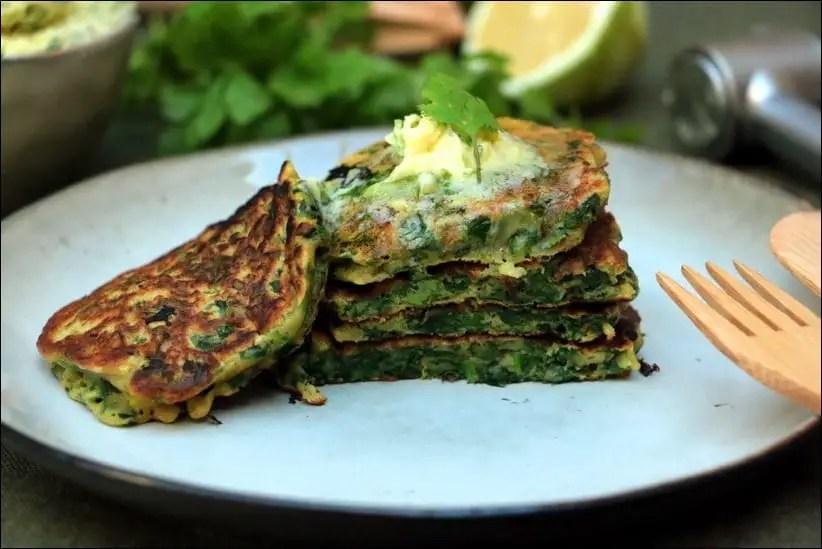 pancakes verts beurre citron vert coriandre