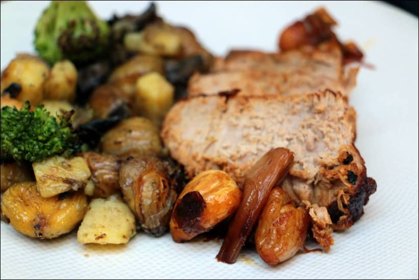 roti de veau aux marrons et échalotes