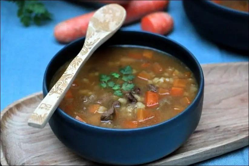 soupe bouillon boeuf legumes et orge