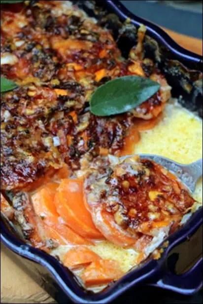 gratin patates douces creme et sauge