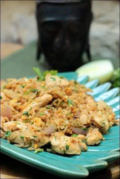 riz sauté oeuf et poulet
