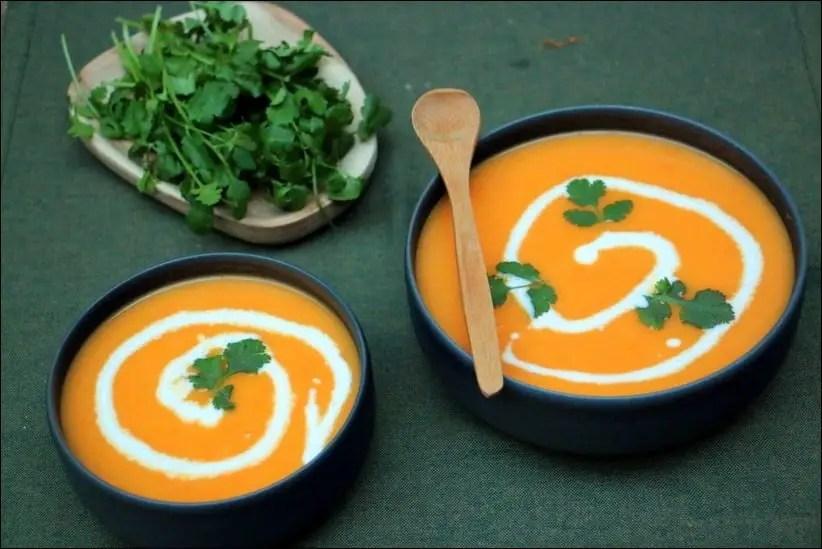 soupe carotte lait de coco coriandre