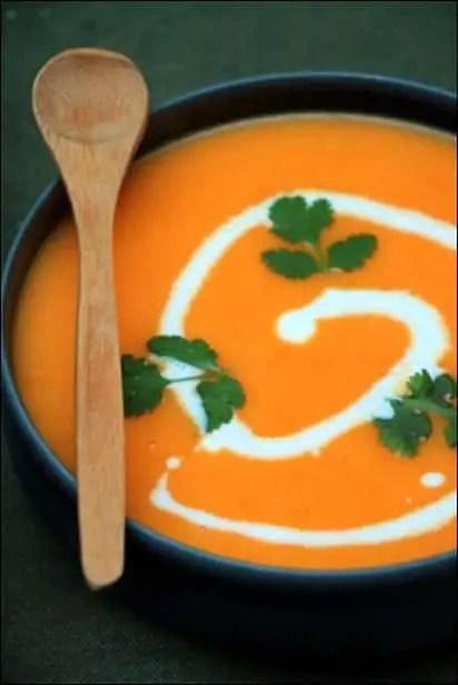 velouté carotte lait de coco coriandre
