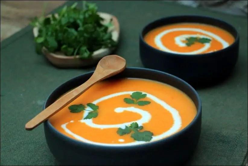 velouté de carottes au lait de coco et coriandre