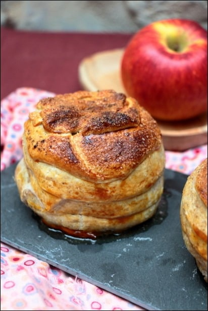 pomme au four enrobée de pate feuilletée