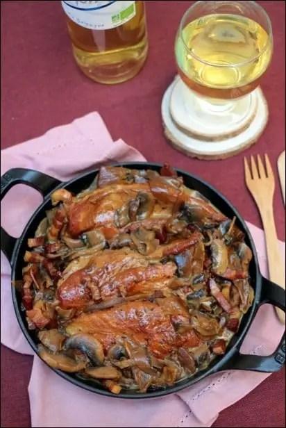 poulet champignon lardon