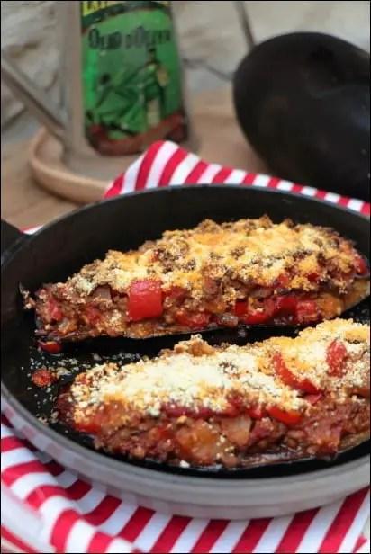 aubergines farcies aux poivrons et boeuf