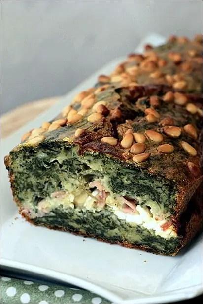 cake moelleux epinards chèvre bacon