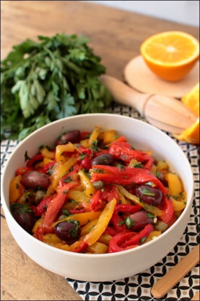 salade poivrons grilles olives