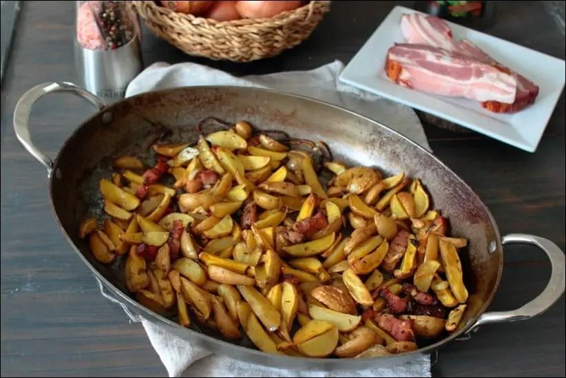 pommes de terre rôties au lard fumé