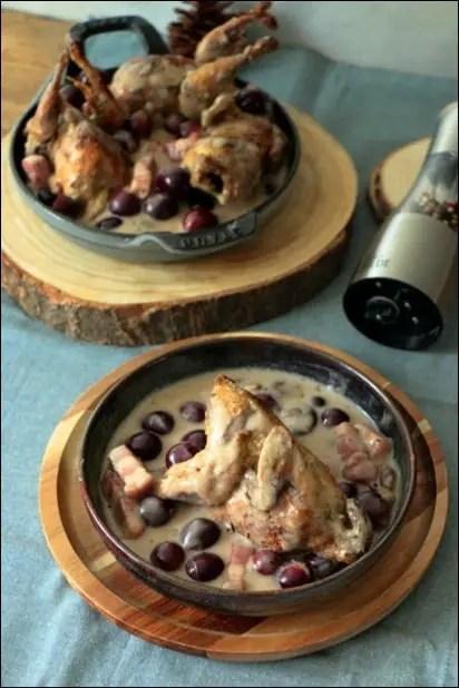 cailles lardons raisin et crème