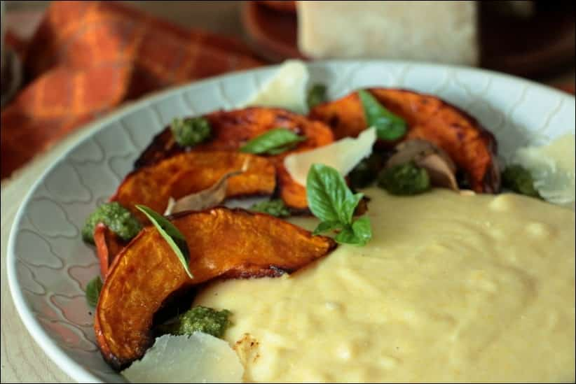 potimarron au pesto et polenta à la crème